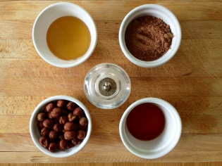 Ingredients for Nutella made with cacao