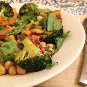 Roast chickpea, sweet potato and broccoli salad with chilli, coriander and lime