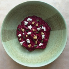 Beetroot borani with goat's cheese and baked beetroot leaf crisps